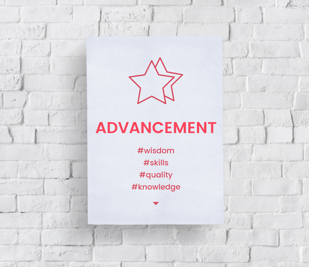 Paper about star development icon on the concrete wall