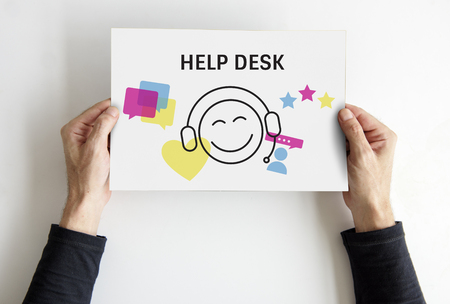 Illustration of contact us online customer services on placard Stok Fotoğraf