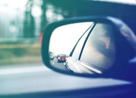 Car Side Mirror Traffic View Travel