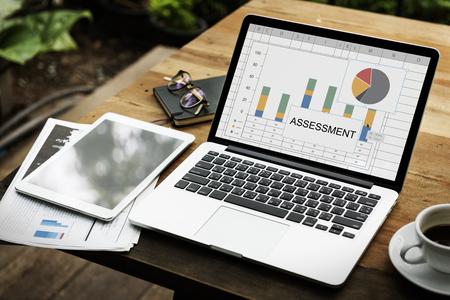 Assessment Bar Chart Pie Chart Statistics Stock Photo