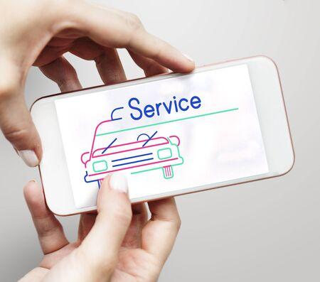 Illustration of automotive car rental transportation on mobile phone Stock Illustration - 83020775