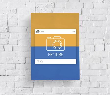 Placard board with camera icon symbol