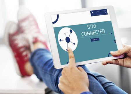 Illustration of social media online communication on digital tablet