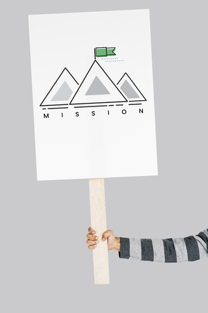 Illustration of goals target with mountain on banner Zdjęcie Seryjne