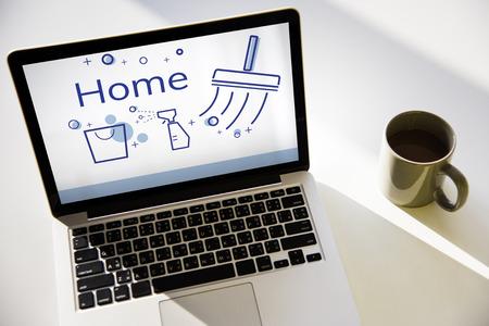 Illustration du service de nettoyage à domicile sur ordinateur portable Banque d'images - 83002672