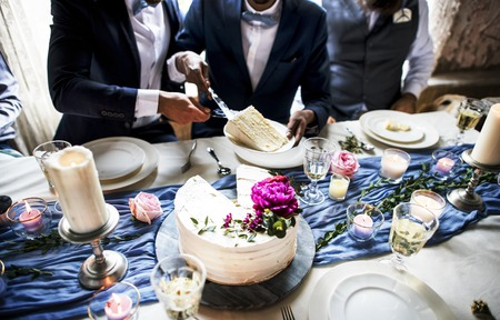 Newlywed gay couple getting cake plate