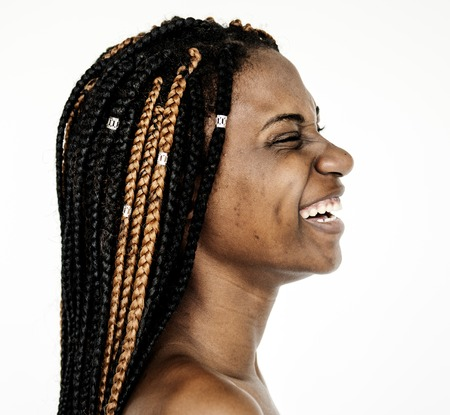 Woman bare chest topless smiling studio portrait