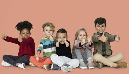 Little Children Thumbs Up Happy