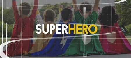 Superhero Kids Pwerful Strenght Word Graphic Stock Photo