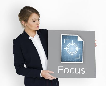 Illustration of focus on goals target pay attention 版權商用圖片