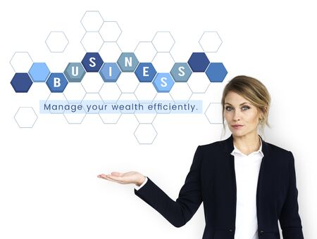 Businesswoman with economics financial transaction investment graphic