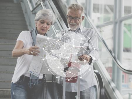 Global connection netowrking technology graphic Banco de Imagens