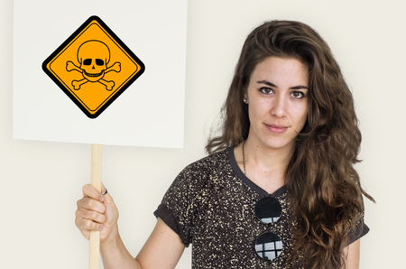 Studio Shoot Holding Banner with Poison Attention Sign