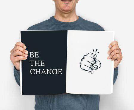 Illustration of pointing finger be the change revolution Reklamní fotografie