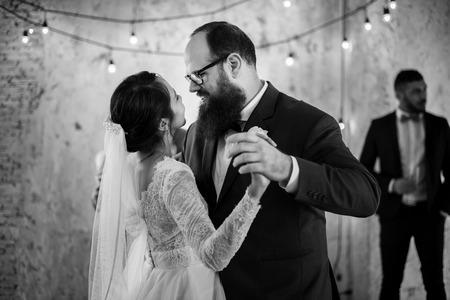 Newlywed Couple Dancing Wedding Celebration Stock Photo - 83009274