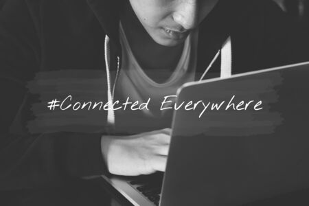 techie: Man lifestyle using laptop connection to network