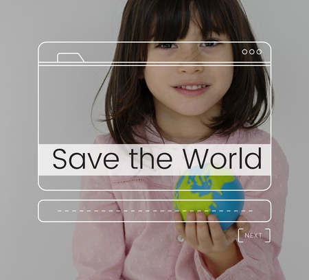 Save The World Message Box Window Graphic Stock Photo
