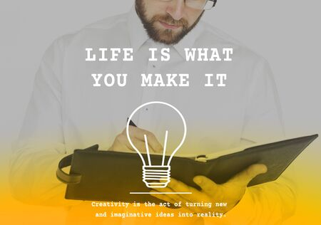 Life is What You Make it Word on Working Man Background Stock fotó
