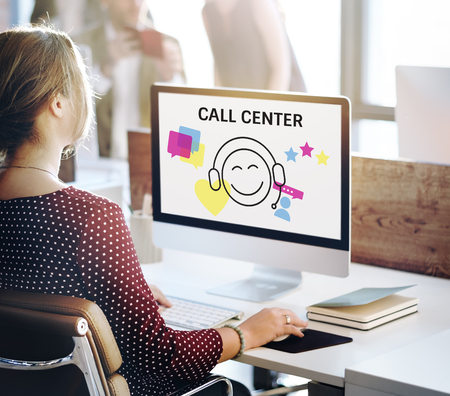 Illustration of contact us online customer services on computer