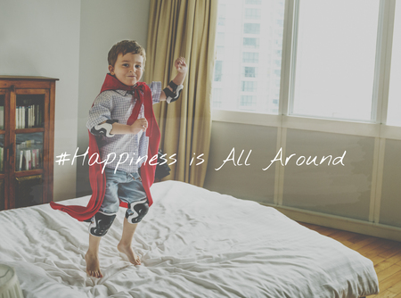 Little Boy with Happiness Time Word Graphic Hashtag Stock Photo