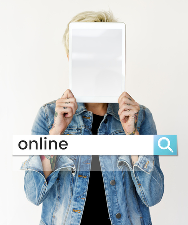 Hands holding digital device covering face network graphic