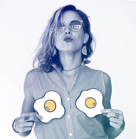 Woman Portrait Hands Holding Fried Eggs Studio