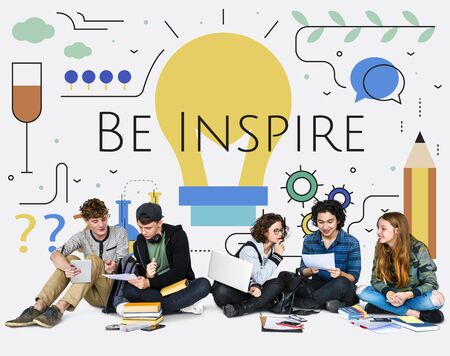 innovate: Students with Illustration of creativity ideas light bulb Stock Photo