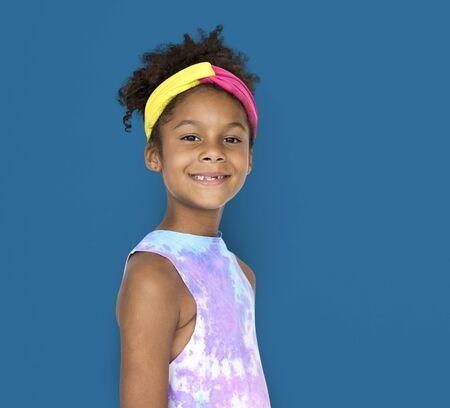 Little Girl Smiling Happiness Studio Portrait Stock fotó