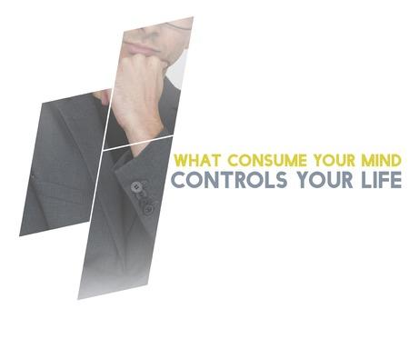 Life Motivation Word on Adult Businessman Background Stock fotó