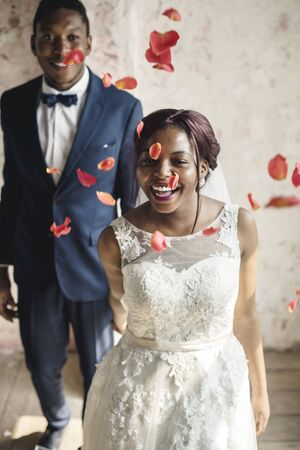 Cheerful African Descent Bride Groom Together