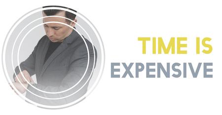 実業家の背景を待っている間に時間の貴重な Word の図 写真素材