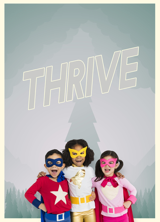 better: Group of superheroes kids with aspiration word graphic