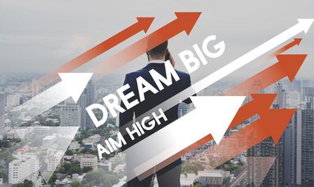 Dream big and aim high concept 스톡 콘텐츠