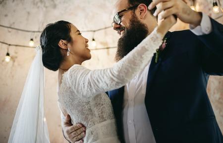 Newlywed Couple Dancing Wedding Celebration Stock Photo - 83023955
