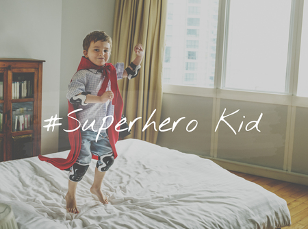 Superhero Kid Young Children Stamp Word Graphic 版權商用圖片