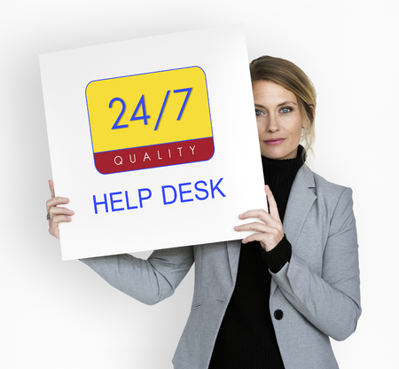 faq's: Business person holding 247 service banner
