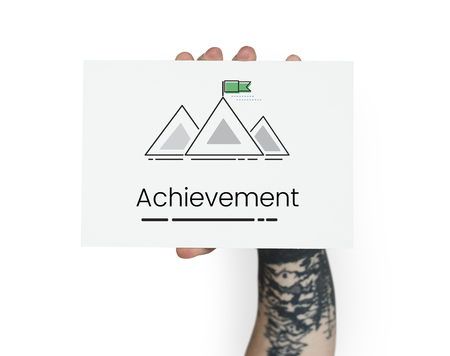 Illustration of goals target with mountain on banner Stok Fotoğraf