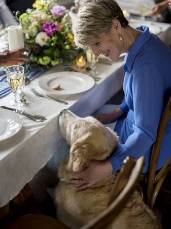 Caucasian Woman Petting Golden Retriever at Party Reception