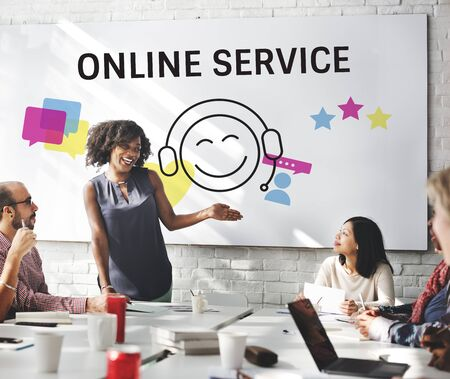 Group of people with illustration of contact us online customer services 版權商用圖片