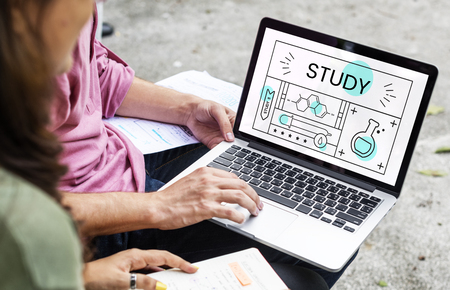 asian man laptop: Group of students with illustration of science chemistry experiment study Stock Photo