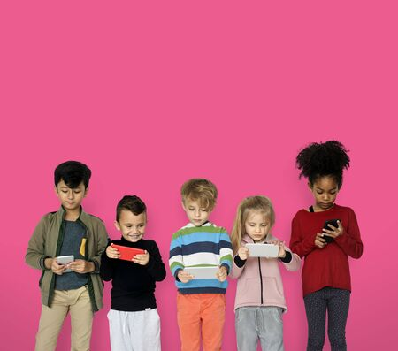 Little Children Playing Smart Phone Stock Photo