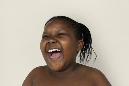 Young Woman Shirtless Smile Face Studio Portrait Banque d'images