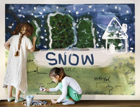 Children painting home winter drawing Фото со стока