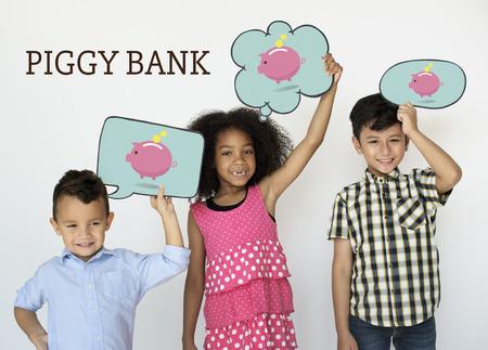 Piggy Bank Money Savings Future Investment Word Graphic Reklamní fotografie - 82955936