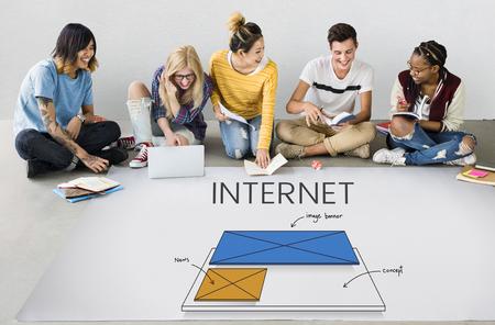 Students working on billboard network graphic overlay on floor Stok Fotoğraf