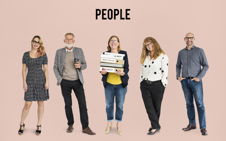 keywords: Group of Diversity Adult People Together Set Studio Isolated Stock Photo