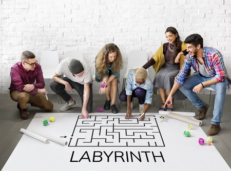 Group of people brainstorming about enigma concept Zdjęcie Seryjne