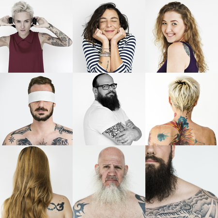 Set of Diversity People Showing Tattoo Studio Collage Stock Photo