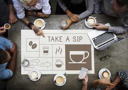 People drinking coffee with Illustration of coffee shop advertisement Banco de Imagens