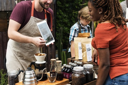 Man introduce coffee product natural Stock Photo